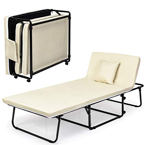 COSTWAY 3-in-1 Folding Sofa Bed with Pillow, Wheels and Dust Cover, 6 Adjustable Angle Portable Sleep Coach Chaise, Home Office Living Room Bedroom Convertible Sofa Seat Lounger (Beige)