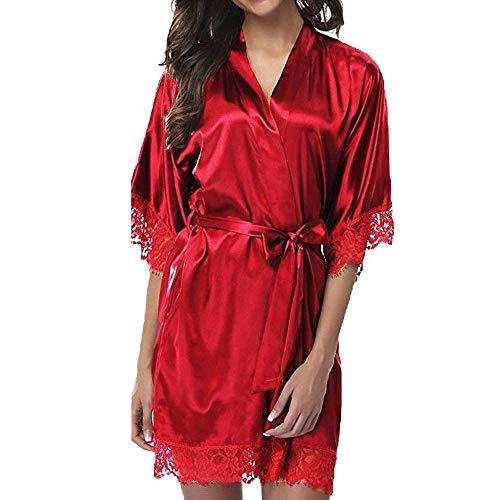 F.lashes Damen Morgenmantel Kimono Satin Kurz Robe Bademantel Nachtwäsche Schlafanzug Nachthemd Sleepwear V Ausschnitt mit Gürtel mit Blumenspitze