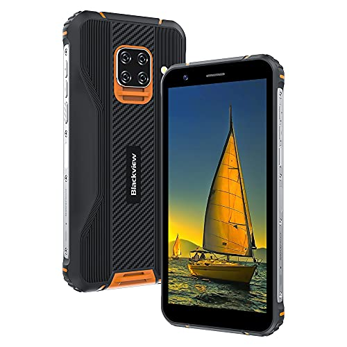 Rugged Smartphone, Blackview BV5100 Cellulare Antiurto con 16MP+13MP,5.7 Pollici,4GB RAM+128GB ROM Octa-core,5580mAh Batteria,Android 10 Telefoni Cellulari 4G,NFC GPS OTG Dual SIM Telefono -Arancia