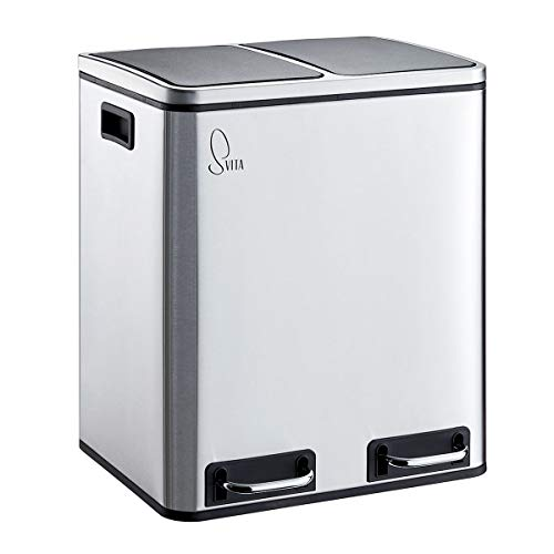 SVITA TM2X15 Edelstahl Treteimer 30 Liter Silber Abfalleimer Mülleimer Design Mülltrennung Papierkorb Küchen-Ordnung Trennsystem