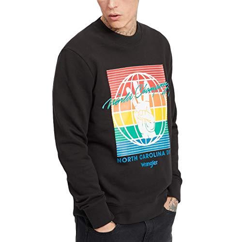 Wrangler Mens Globe Crew Neck Trui Sweatshirt - Faded Black