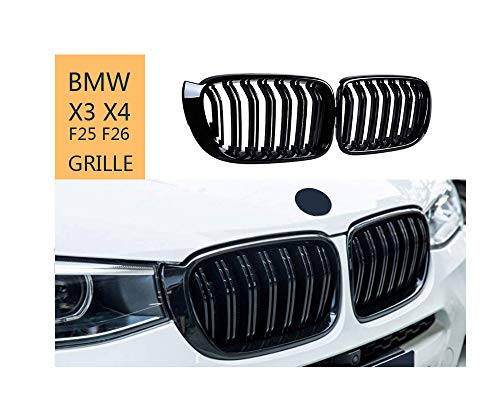 Front Kidney Grille for BMW X Series X3 X4 F25 F26 2014-2018, ABS Glossy Black Double-Slat Grill