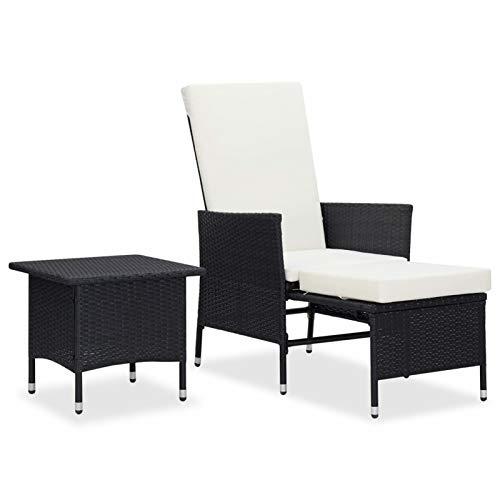 Tidyard Set Muebles de Jrdín 2 Piezas y Cojines Mesa y Sillón para Terraza Piscina Porche Jardín Balcón Ratán Sintético Negro