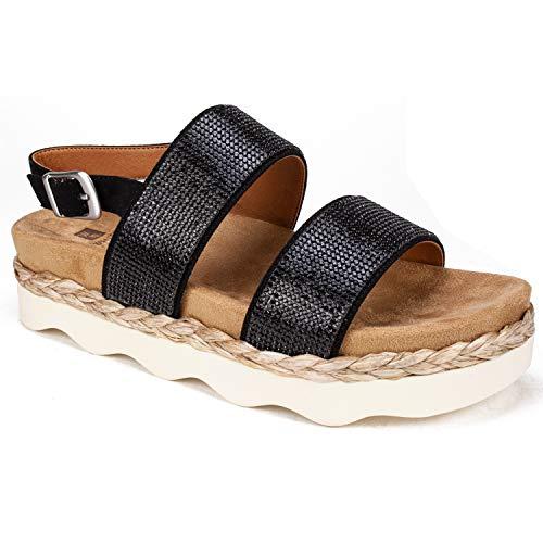 """White Mountain Shoes""""AUSTIN"""" Women's Sandal, BLACK/FABRIC, 9H M"""