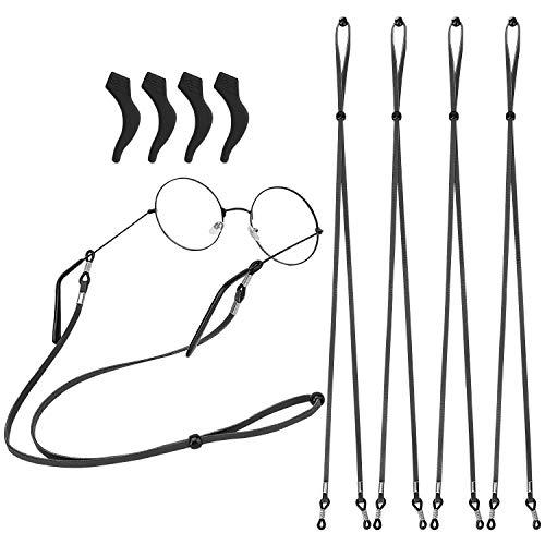 MoKo Cadena para Anteojos Elegante de PU, [4 Piezas] Correa Ajustable de Retenedor para Gafas de Sol, Soporte Antideslizante para Mujer, Hombres para Fijar Varios Tipos de Gafas, Negro