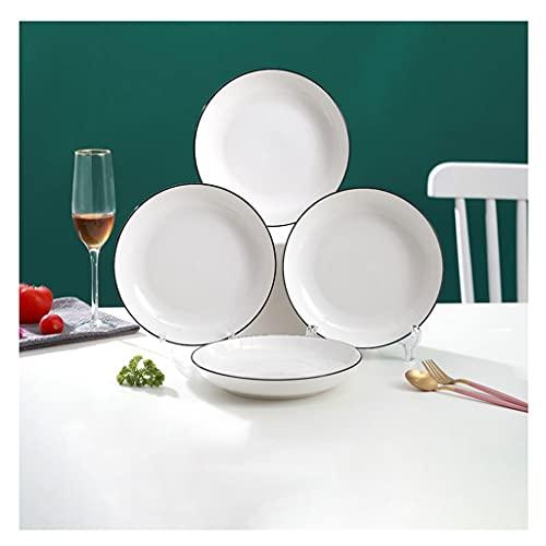 platos llanos Placas de cerámica Conjunto de 4, 7.28in Placas blancas La ensalada Aperitivo Postre platos Placas de pasta para horno de microondas Lavavajillas Cocina Cocina Cocina Platos de porcelana