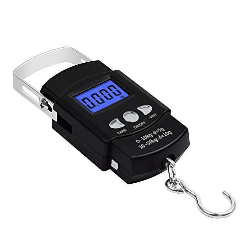 Tung Hsing LON Pesca balanzas electrónicas Postal de pesaje Digital Escala de Equilibrio con la Cinta métrica de 110lb / 50kg, 2 pcs AAA Pilas Incluidas