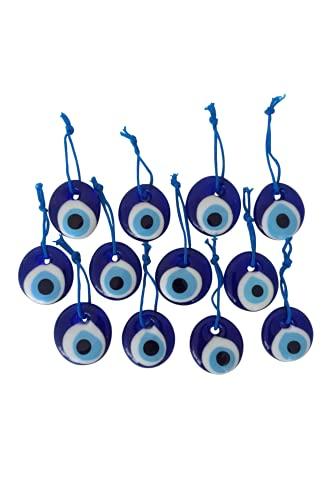 Erbulus Turkish Glass Blue Evil Eye Beads - 12pcs 1.38' (3.5cm) Bulk Pack - Evil Eye Ornament Protection Charm - Turkish Nazar Boncuk Talisman - Home Decor Amulet - Wedding Favor in a Box