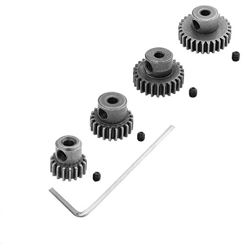 Hobbypark Steel Metal Mod 0.6 Module Pinion Gear Set 3.175mm Motor Gears 17T 21T 26T 29T 11189 11176 11181 11119 for RC Car Redcat HSP Exceed (4-Pack)