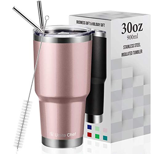 30oz Vacuum Insulated Tumbler Double Wall Coffee Cup by Umite Chef, Stainless Steel Travel Mug with Lid, 2 Straws, Brush & Gift Box(30oz, Rose gold)