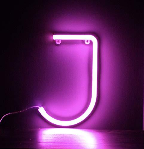 Smiling Faces UK Neon LED Pink Buchstaben Licht Zeichen - Wandbehang batteriebetrieben - Brief J
