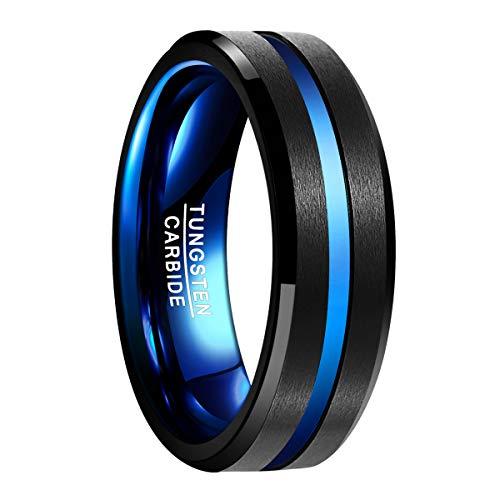 Natur Fashion - Wolfram Ring Schwarz Blue 7mm mit Rille Blau für Herren Damen Paare Verlobungsring Partnerring Geschenk & Alltag Größe 62 (19.7)