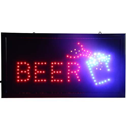 CHENXI LED Store Open-Schild für Bar / Bier / Wein / Likör, Neon, 48 x 25 cm, Ein-/Ausschalter + Kette zum Aufhängen, viele Stile für Bar, Bier, Pub (48 x 25 cm, Wein)