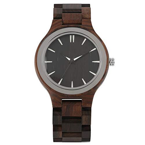 LOOMUCI Reloj de Madera Reloj de Madera Simple para Hombre Relojes de Marca de Lujo de Cuarzo analógico Casual Reloj de Banda de bambú Completo Reloj Masculino, Madera de ébano