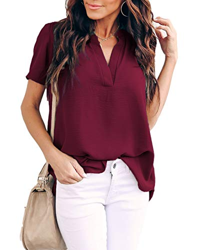 Allimy Women Summer Clothes Plus Size V Neck Short Sleeve Tops Fashion 2020 Blouses Wine XL