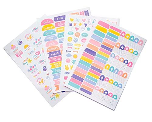 Pegatinas para agendas impermeables y reutilizables. Paquete de pegatinas: 260 stickers, optimas pegatinas para móvil, ordenador, tablet, etiqueta para botellas