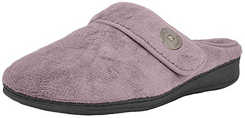 Vionic Women's Indulge Sadie Mule Slipper- Comfortable Spa House Slippers that include Three-Zone Comfort with Orthotic Insole Arch Support, Soft House Shoes for Ladies Mauve 9 Medium US