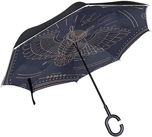 Vintage Retro Tribal Eule Reverse Regenschirm Regenschirme mit C-Form Griff für Autos Damen Herren