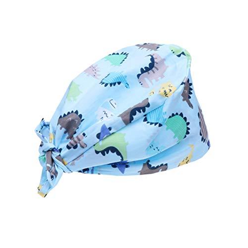 TENDYCOCO Lindo Gorro de Belleza con Estampado de Dinosaurio para Hombres, Mujeres, Mantenga el Cabello Limpio, la Gorra de Trabajo Hace Que Las Personas se vean Modernas y amables - Azul
