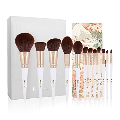 ASKLKD Pinceau de maquillage Set, 12 pinceaux de maquillage professionnels, Fondation Ombre à paupières Correcteur poudreux liquide Crème mixte Pinceau (avec Advanced poignée en bois et sac de maquill