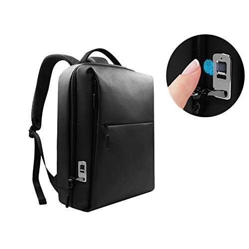 Fingerprint Lock Laptop Backpack Travel Backpack Anti Theft Bag with USB Charging Port Water Proof College Business Backpack for Women Men Fits 15 inch Laptop, Casual Hiking Daypack(Fiber material)