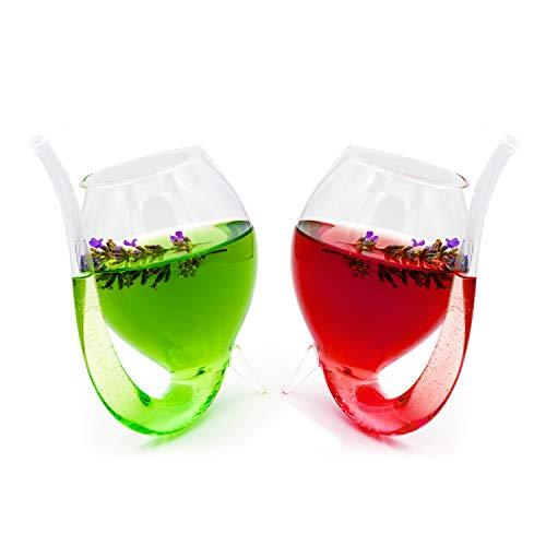 Oranien Trade Cocktailgläser, Partygläser mit Trinkhalm/Glasstrohhalm im 2er-Set edles Design Füllmenge 300ml