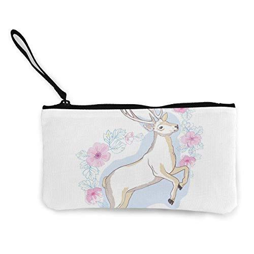 Aquarell isoliert Hirsch Big Antlers Blumen Mode Cute Canvas Coin Geldbörse für Männer und Frauen Verfügbar Cash Clutch Coin Card Key Bag 4,5 x 8,5 Zoll Handy Geldbörse mit Reißverschluss und Armband