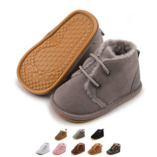 Zoolar Baby Warm Booties Newborn Boy Girl Boots Cozy Fur Shoes Lace Up Toddler Booties First Walker Winter Crib Boots
