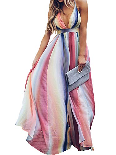 Romacci Damen Kontrastfarbe Gestreift Tiefem V-Ausschnitt Rückenfreie Spaghetti-Trägern Boho Lässig Maxi-Kleid
