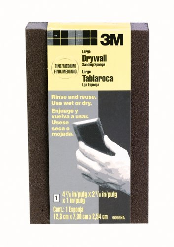3M Large Area Drywall Sanding Sponge Fine/Medium 4875Inch by 2875Inch by 1Inch Black  9095NA