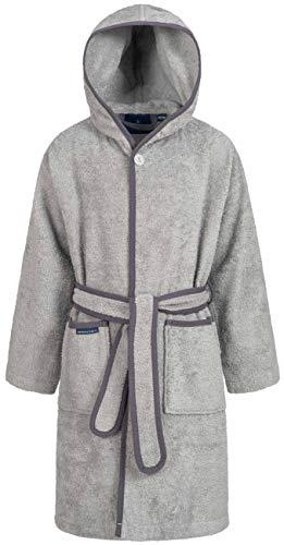 Morgenstern Frottee Kinderbademantel mit Kapuze einfarbig Grau Gr 110 116 Bademantel für Babys Frottee-Bademantel Kinderduschmantel Hellgrau Grey