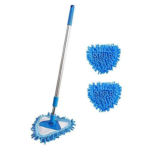 FHISD Mini trapeador de Microfibra Azul Que se Puede Girar 180 Grados, fácil de Limpiar, para el hogar, baño, Cocina, Techo, Azulejos, Limpieza de Pisos, trapeadores para Fibra (tamaño: Tres cabez