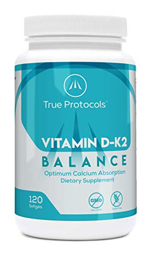 Vitamin D-K2 Balance - Vitamin D3 (1000 IU) + Vitamin K2 MK7 (120 mcg) + Vitamin A (500 IU) - 120 Bioavailable Softgels – for Strong Bones & Improved Muscle Function - 100% Non-GMO Supplement