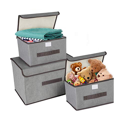 KATELUO 3 Stück Aufbewahrungsboxen mit Deckel und Griff, Faltbare Faltbarer Aufbewahrungsboxen in Würfelform für Kleiderschrank, Bücher,Spielzeug etc. (Grau)