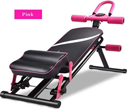 HUJPI Multifunktion Training Fitness Bank, Klappbar Hantelbank höhenverstellbar Trainingsbank für´s Home-Gym für das Bauch- und Rückentraining,pink