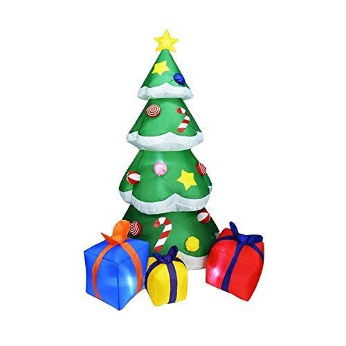 HIGHKAS Árbol Navidad Inflable 6,88 pies (2,1 m) con luz LED, árbol Inflable Navidad vercon Cajas Regalo Multicolores y decoración Estrellas, Adornos navideños Verdes para Interiores, Exteriores,