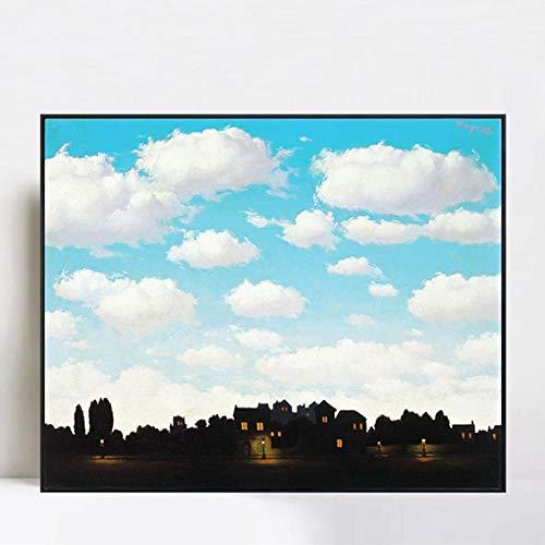 Der Blaue Himmel von Rene Magritte Gemälde auf Leinwand Poster und Drucke Wandkunst Bilder für Wohnzimmer Wohnkultur 40x50cm ungerahmt