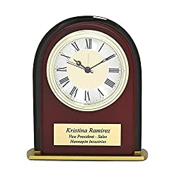 Executive Gift Shoppe - Personalized Mahogany Alarm Clock - Engraved Desk Clock - Wooden Table Clock