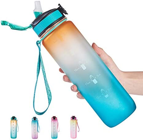 32 oz Water Bottle with Time Marker Straw Leakproof BPA Free Sports Water Bottle To Ensure You product image