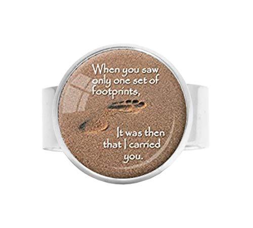 HE PING Fußabdrücke Gedicht Ring Fußabdrücke im Sand christlicher Schmuck Jesus Zitat Geschenk für christliche Inspiration Schmuck braun weiß