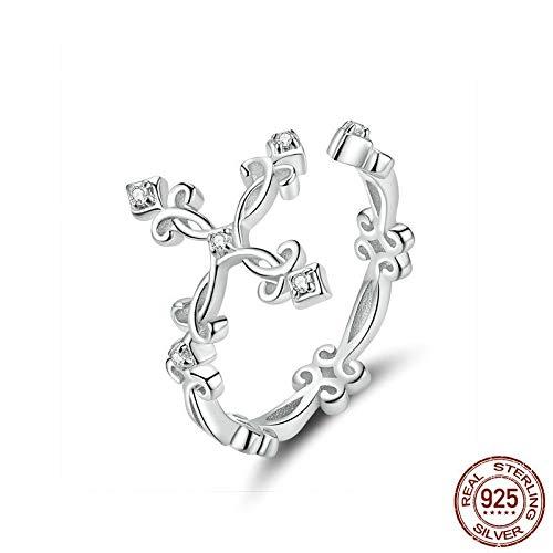 GMZWW Retro Muster Kreuz Verstellbarer Fingerring für Frauen 925 Sterling Silber Vintage Blumenringe Silber Bijoux