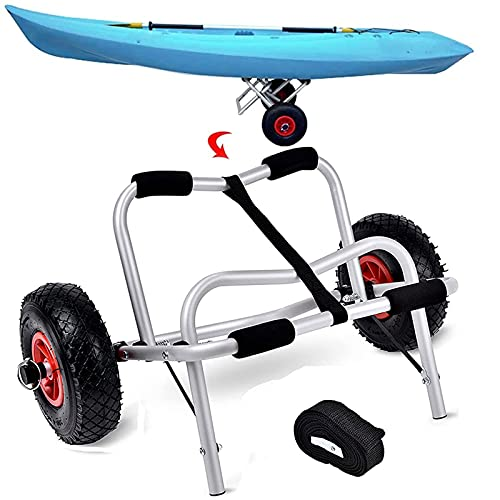 EEUK Carrito Plegable para Kayak, Carrito para Canoa, Remolque, Carrito para Kayak de 28 Pulgadas, Carrito para Kayak para Kayak Sentado en la Parte Superior, Canoas, Tablas de Remo, Flotadores