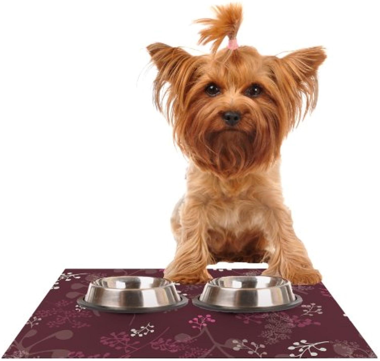 KESS InHouse Laurie Baars Ferns Vines Bordeaux  Maroon Pink Feeding Mat for Pet Bowl, 24 by 15Inch