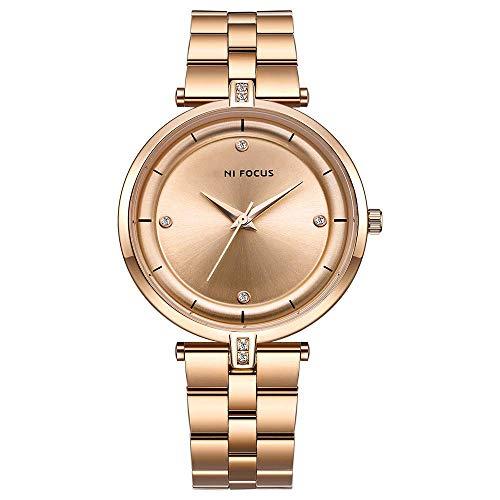AZPINGPAN Pulsera de acero inoxidable Boutique para mujer, movimiento japonés simple con diamantes incrustados, resistente al agua, reloj analógico de negocios, tiempo libre