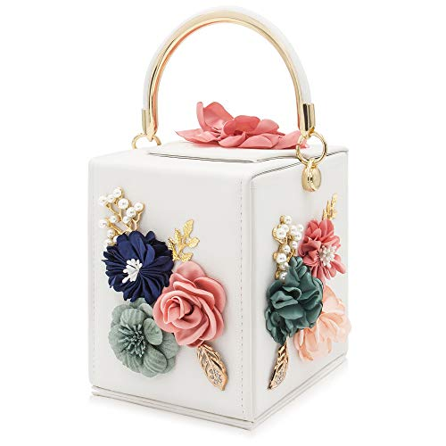 Milisente Evening Clutch Bag for Women Floral Square Box Evening Bags Crossbody Shoulder handBags Flower Wedding Clutch Purse (White)