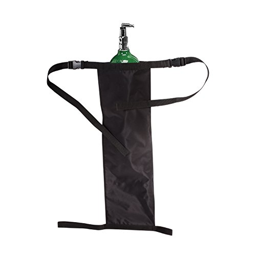 """Maddak Wheelchair Oxygen Tank Holder with Buckles, Fits """"D"""" and """"E"""" Tanks, Heavy-Duty Waterproof Nylon, Black (706201000)"""