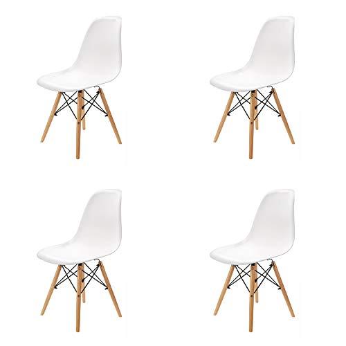 N/A Lot de 4/6 chaises, design minimaliste élégant, en plastique, pieds en bois, convient pour salle à manger, chambre à coucher, chaise de bureau, 82 x 46 x 53,5 cm