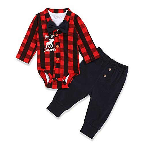 Baby Boys My 1st Christmas Outfits Baby Kids Gentleman Christmas Romper Bodysuit + Pants 3Pcs Clothes Sets (Red, 0-3Months)