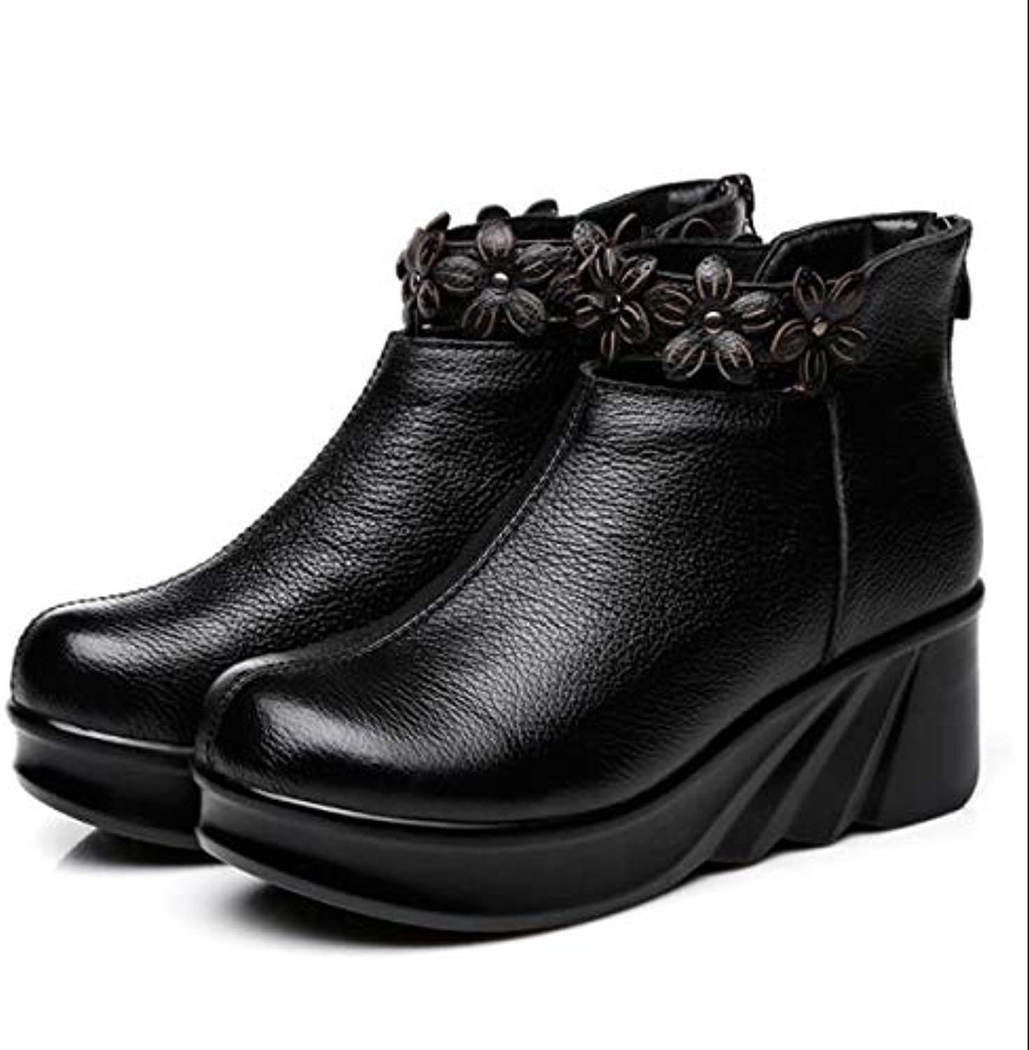 Fumak Boots Women Comfortable Autumn Genuine Leather Ankle Boots for Women Soft Martin Wedges Platform shoes Ladies