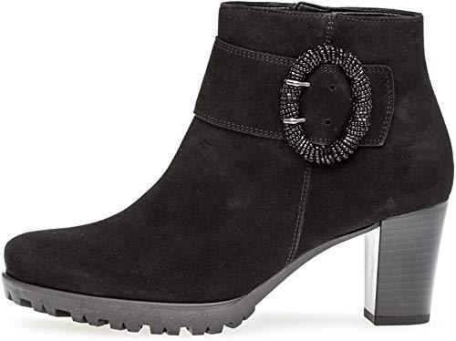 Gabor Damen Ankle Boots 92.862,Frauen Stiefel,Ankle Boot,Halbstiefel,Damenstiefelette,Bootie,knöchelhoch,Blockabsatz 5.5cm,G Weite (Normal),schwarz (Micro),UK 6